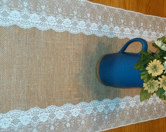 Burlap and Lace Table Runners Rustic Wedding
