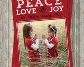 Holiday Card, photo card, PEACE, LOVE, & JOY, digital printable file