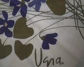 Vintage Signed VERA Purple Violets Round Tablecloth with Fringe - Vintage Vera Neumann Copyright Table Cloth