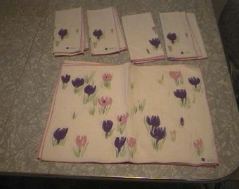 Vintage Signed VERA With A LadyBug Placemats and Napkins - Vintage Vera Neumann Pink and Purple Tulips Placemat and Napkin Set