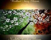 "XL Oil White Cherry Blossom painting Abstract Original Modern 48"" palette knife impasto oil painting by Nicolette Vaughan Horner"