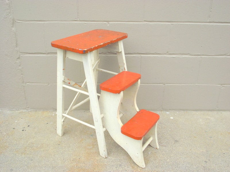 Antique Wood Folding Step Stool Kitchen Rustic By Oldmillvintage