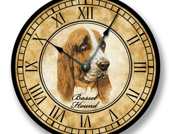 Basset Hound wall CLOCK -  color pencil sketch - old world look