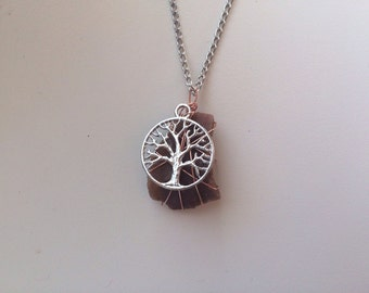 Bohemian Orange Stone and Tree of Life Charm Wire Wrapped Necklace