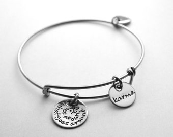Personalized expandable bracelet-Alex and Ani inspired bracelet-All stainless steel-hand stamped with any text that fits-See all photos!