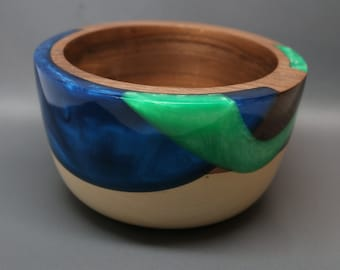 A Handcrafted Wooden Bowl made of Black Walnut and Holly Wood(s) with a Blue and Green Pearl Resin Inlay - Collectible , Unique Gift
