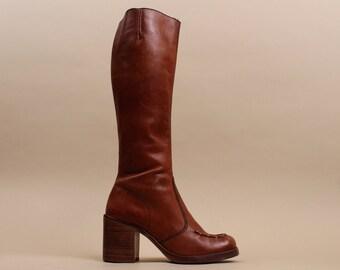 70s Vtg KNEE HiGH Genuine Leather Sienna Rust Zip Up / Braided Toe CAMPUS Mod Frye Style Tall Riding Boho Hippie / 7 - 7.5 Eu 37 38