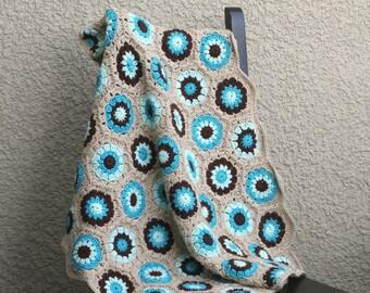 Crochet baby blanket, crochet newborn blanket, baby blanket, blue brown beige, baby shower gift