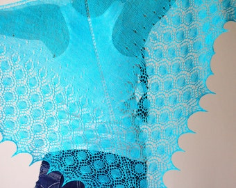 Knit shawl in turquoise blue aqua lace, bridal shawl, gift for her, wedding shawl, bridesmaids shawl