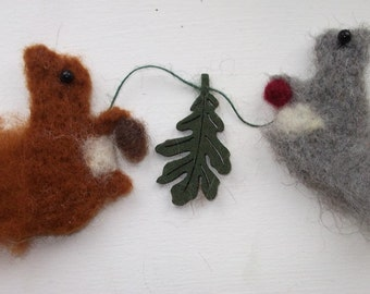 SQUIRRELS-make your own needle felted squirrel garland - complete kit