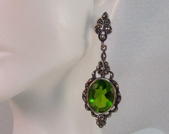 Vintage Victorian Reproduction Sterling and Faux Peridot Drop Earrings