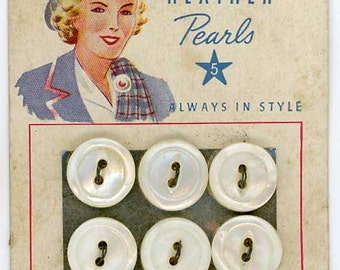 6 Vintage Mother of Pearl Shell MOP Sewing Buttons 1/2 inch 13mm Bonnie Heather Pearls Card 1920s