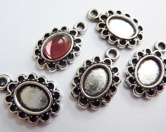12 cabochon settings, 8x6mm, antique silver, oval