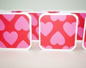 Valentine Mini Cards, Blank Cards, Valentine Tags, Square Cards with Envelopes, 3x3 Cards, Square Tags, Hearts Card, Pink Harts Card, Hearts