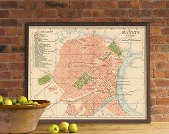 Map of Saigon - Old map print  - Old city plan reproduction