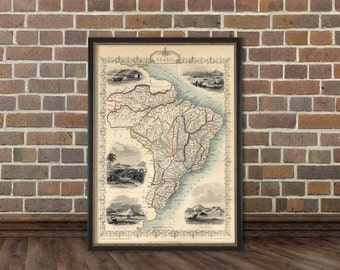 Vintage map of Brazil  - Old map reproduction - Brazil map restored