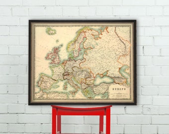 Map of Europe - Antique Europe  map - A vintage map of Europe archival reproduction