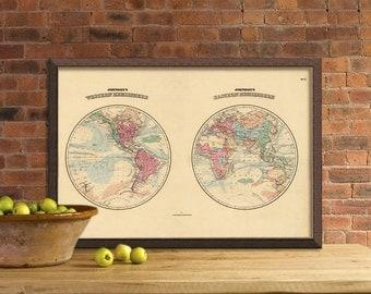 Antique map - World map in two hemispheres - Western Hemisphere - Eastern Hemisphere -  Fine art print