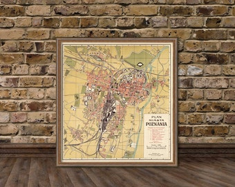 Poznan map - Vintage city map- Plan Miasta Poznania