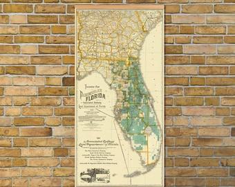 "Florida map - Vintage map of  Florida -  Large print   - 17.5 x 35 """