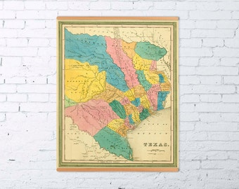 Texas map - Old map of Texas archival reproduction - Giclee fine print
