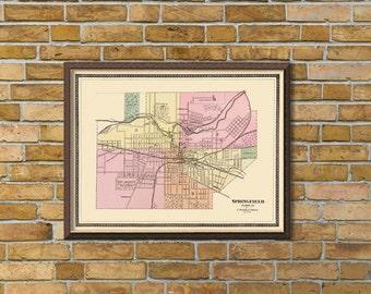 Vintage map of Springfield  (Ohio) - Print