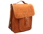 Vintage, Tan Brown Leather Satchel, Messenger, Bag