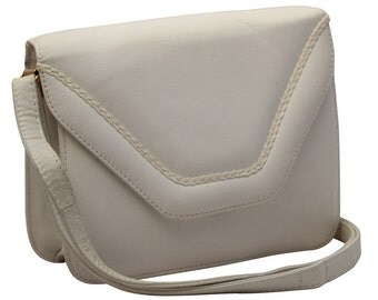 Vintage White Leather Satchel, Messenger, Cross Body Bag, Saddle Bag