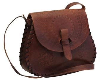 Vintage, Brown Tooled Leather Satchel, Saddle Bag, Handbag, Shoulder Bag, Tote