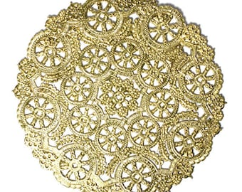 100 gold 10 inch round medallion doilies, wedding invitation liner, party decoration, paper lace doily
