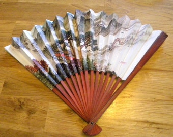 Chinese fan paper and bamboo pagoda scene vintage ephemera