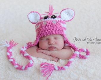 Pink Zebra Earflap Hat