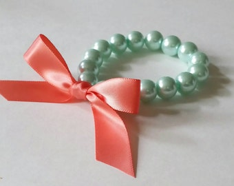 Mint Green Pearl and Coral Ribbon Bracelet