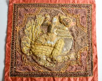 "Early Vintage Burmese KALAGA embroidery "" Vishnu riding Garuda "" panel"