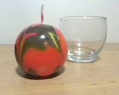 Medium Round Black Red and Yellow Marbled Candle