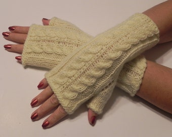 Arm warmers, fingerless gloves, arm cuffs in light yellow Christmas gift