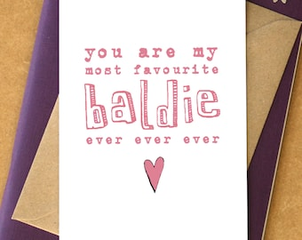 My Favourite Baldie Ever Card - card for husband - card for boyfriend - bald card - bald man card