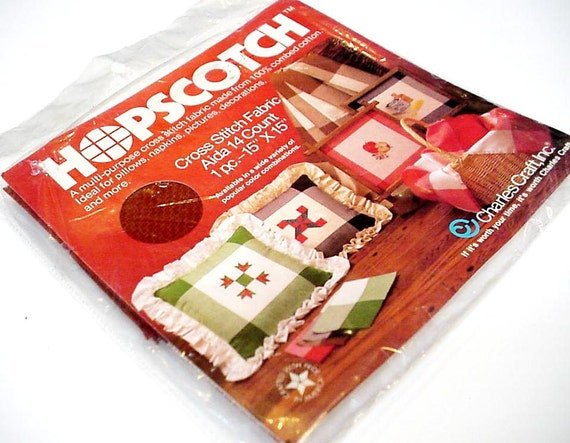 Rust hopscotch cross stitch fabric 14 count aida cloth vintage for Charles craft cross stitch fabric