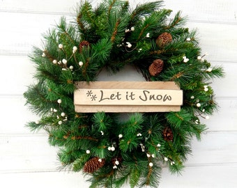 SCENTED Christmas Wreath-SCENTED PINE-Winter Door Wreath-Holiday Wreath-Primitive Christmas Wreath-Holiday Home Decor-Choose Scent & Ribbon