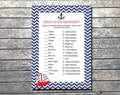 Nautical Shower Game -Celebrity Who is My Mommy - INSTANT DOWNLOAD Printable - DIY Blue Red Nautical Sailboat