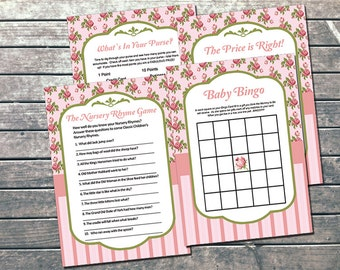 Shabby Chic Baby Shower Games INSTANT DOWNLOAD Printable - DIY Pink Vintage Girl Baby Shower