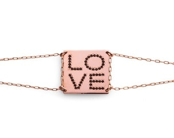 personalized Square love bracelet. available in rose goldfilled. set with black zirkons