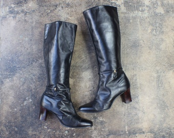 8 1/2 / Tall Leather BOOTS / Women's Shoes / 1970's Heeled Black leather Boots