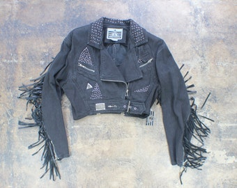 Denim FRINGED Jacket / Vintage Deadstock Studded Motorcycle Jacket / Cropped Black Jean Coat Women's