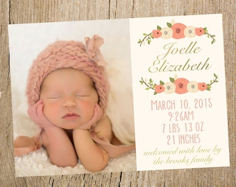 Baby Girl Floral Photo Birth Announcement- Digital