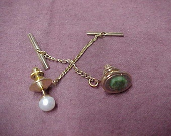 Vintage Two Tie Tacks from the 1940's, Gold Filled, Jade, Pearl