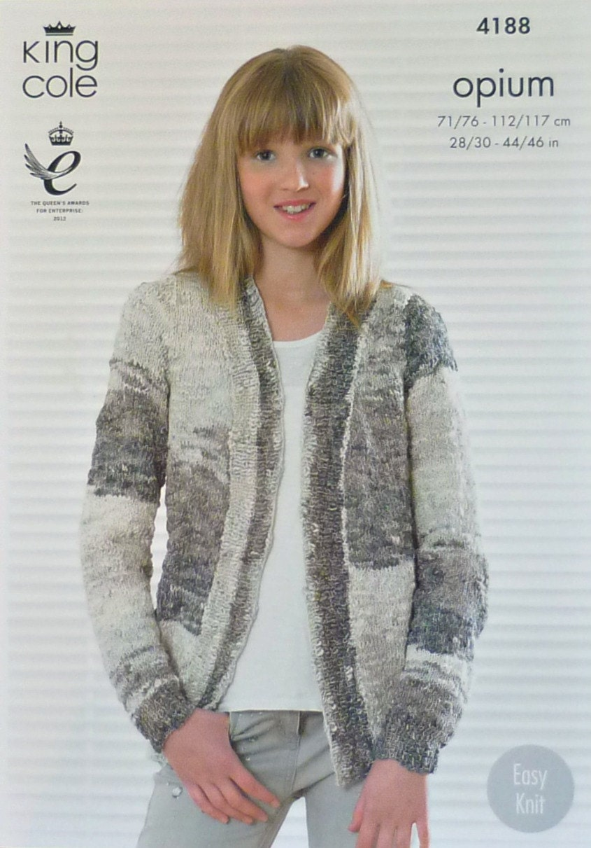 Knitting Pattern For Edge To Edge Cardigan : Girls Knitting Pattern K4188 Girls/Ladies Easy Knit Long Sleeve Edge to Edge ...