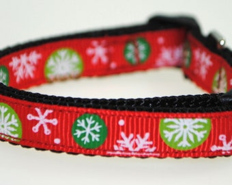 "Snowflakes on Red 3/8"" Adjustable Dog Collar"