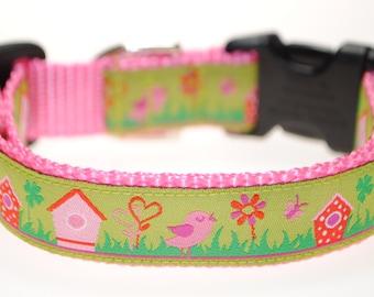 "Birds and Birdhouses - 3/4"" Adjustable Dog Collar"