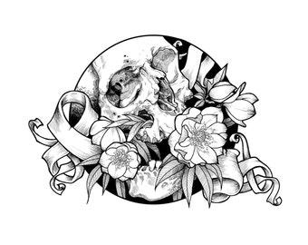 """Print of Original Drawing """"Winter Rose"""""""